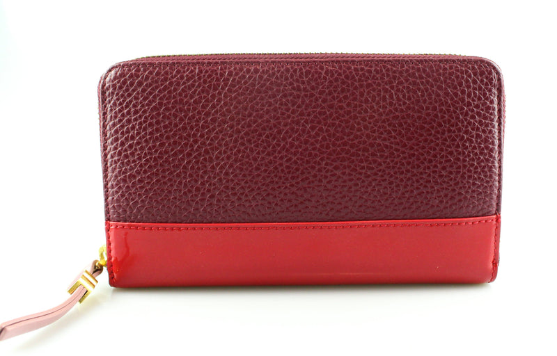 Lulu Guinness Tri Colour Zip Around Wallet Pink/Red/Purple