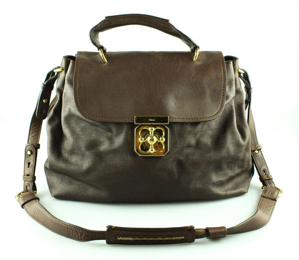 Chloe Brown Leather Elsie Satchel