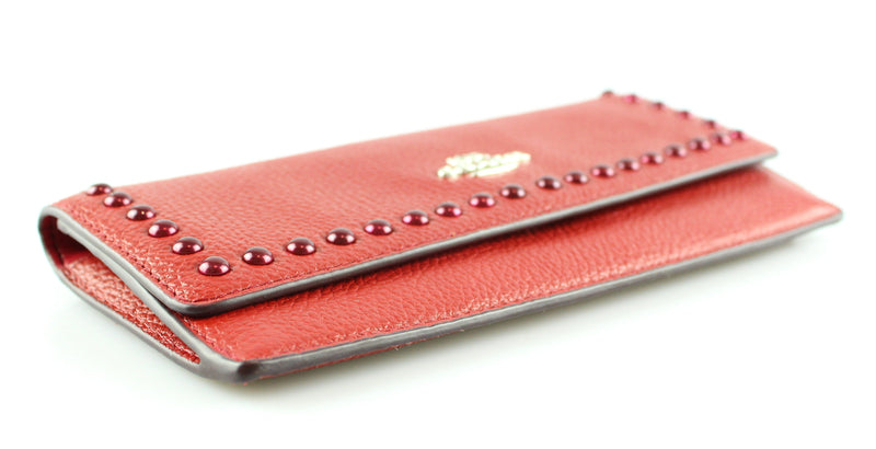 Coach Grained Leather Cabernet Flap Wallet