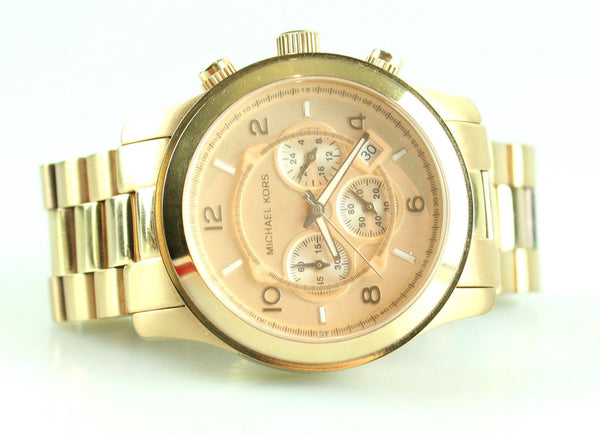 Michael Kors MK8096 Large Dial Rose Gold Runway Chronograph Unisex Watch