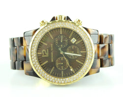 Michael Kors Oversize Madison Chronograph Watch Tortoise Shell Strap