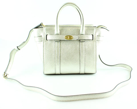 318289423501 Mulberry Micro Zipped Bayswater Metallic Printed Calf Light Silver Gh