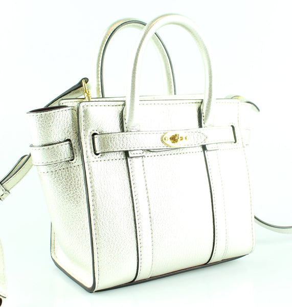 Mulberry Micro Zipped Bayswater Metallic Printed Calf Light Silver Gh