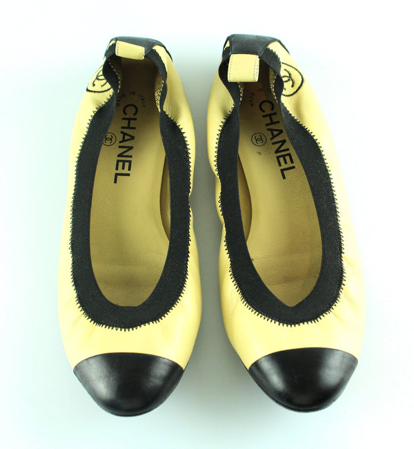 Chanel Beige?Black Leather Pumps EUR 37.5 UK 4.5