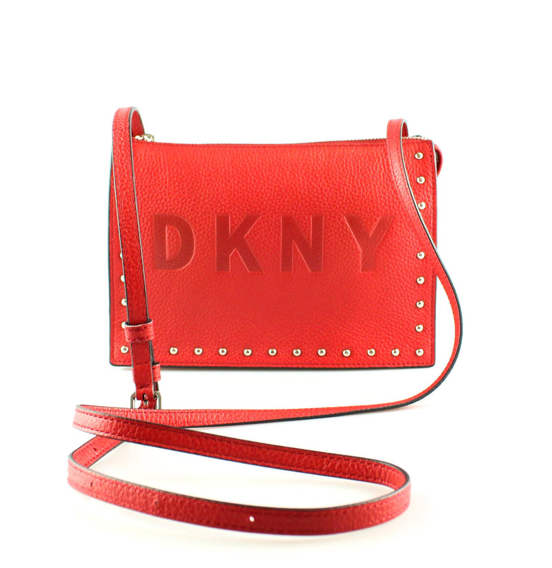 DKNY Embossed Logo Commuter Microstud Red Messenger
