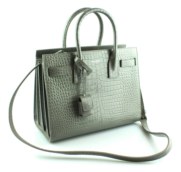Saint Laurent Sac De Jour Baby In Grey Embossed Croc Shiny Leather RRP €2250