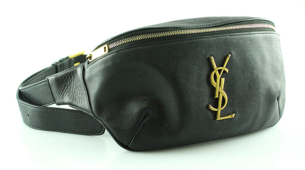 Saint Laurent Monogram Belt Bag In Black Grain De Poudre Leather RRP €890