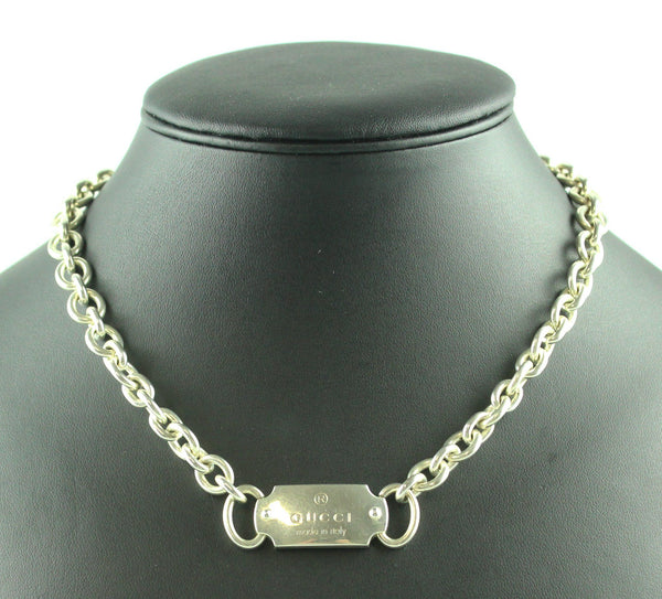 Gucci Silver Plated Tag Necklace