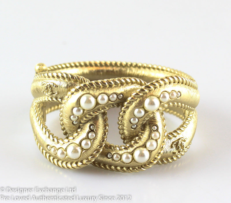 Chanel Goldtone Hinged Knot Costume Pearl Cuff 2016B