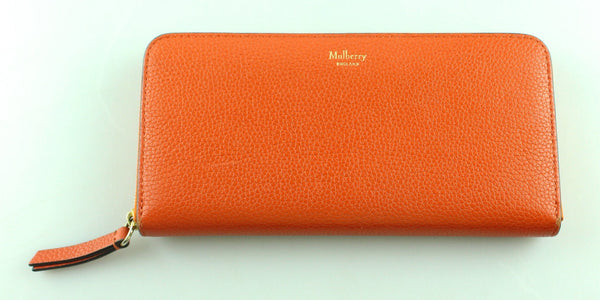 Mulberry Orange Grained Leather Eight Card Zip Around Wallet RRP €335