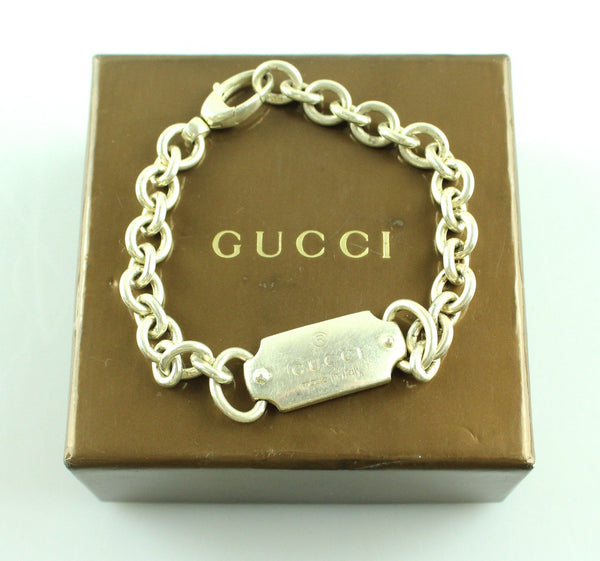 Gucci Silver Plated Tag Bracelet