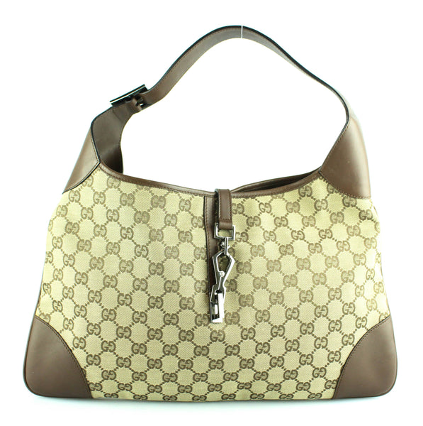 aa2ea9a975a Gucci Jackie GG Monogram Canvas Brown Leather – Designer Exchange Ltd