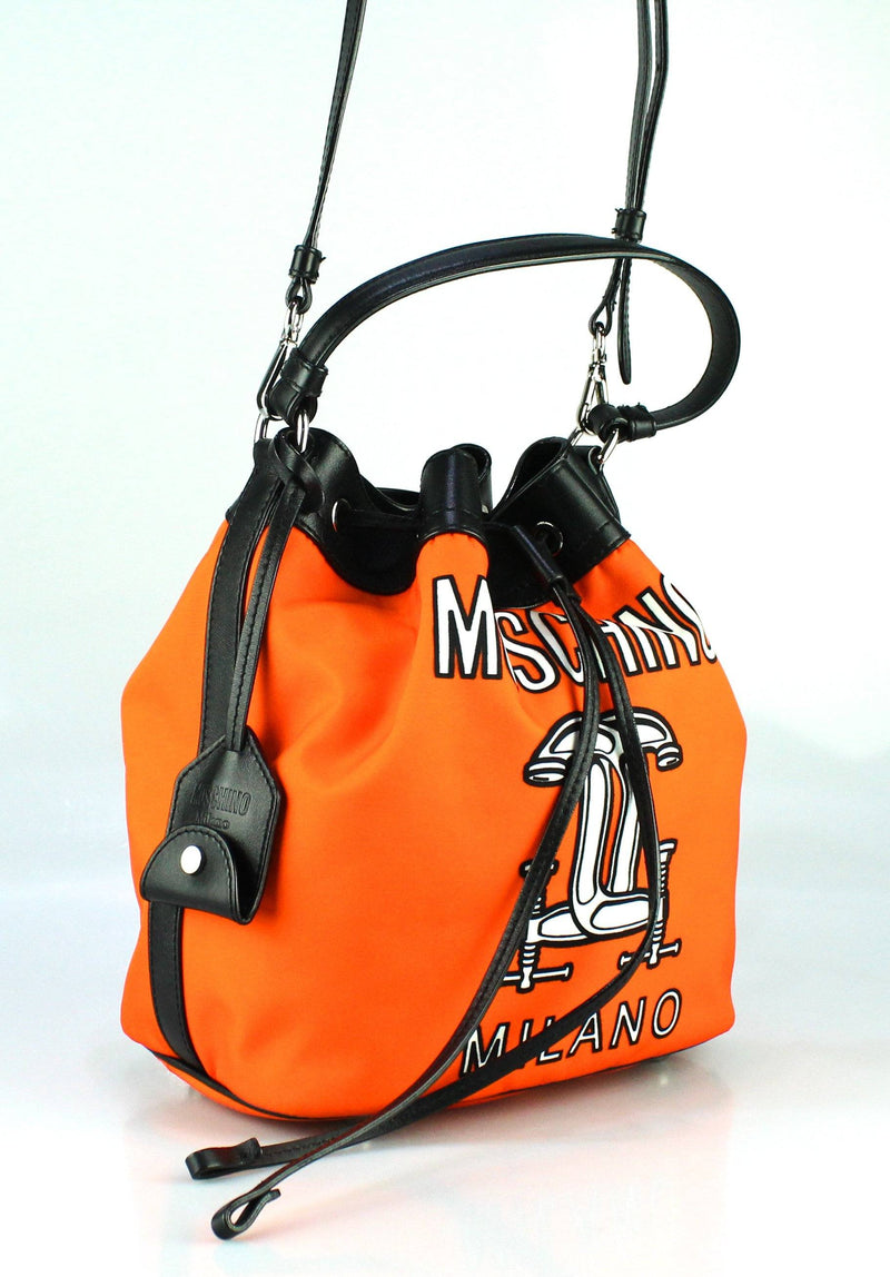 Moschino Orange Printed Nylon Bucket Bag