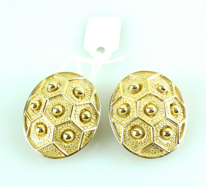 Dior Germany Vintage Clip On Earrings Oval Hexagon Goldtone (Circa 1986)
