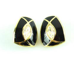 Christian Dior Vintage Goldtone Nad Black Enamel Stone Clip On Earrings