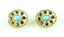 Christian Dior Vintage Clip On Earrings Small Turq Stone