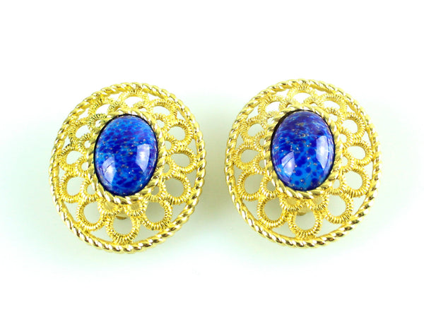 Christian Dior Vintage Large Clip On Earrings Dark Blue Stone
