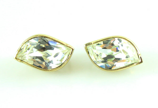 Dior Vintage Large Faux Diamond Clip Earrings