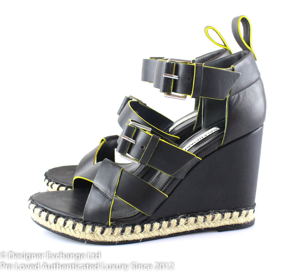 Balenciaga Black Leather Wedge Espardille EUR 38 UK 5