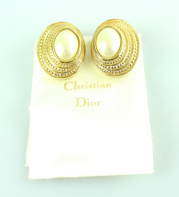 Christian Dior Vintage Clip Earrings Oyster Costume Goldtone