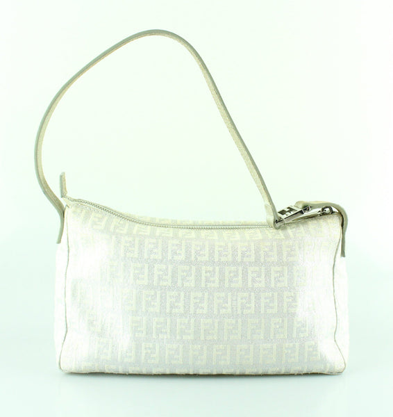 Fendi Silver Monogram Small Shoulder Bag
