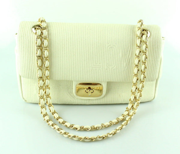 Louis Moschino Beige Turnlock Flap Bag