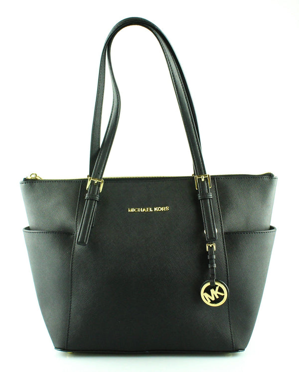 Michael Kors Black Saffiano Zipped Jet Set Tote GH (3)