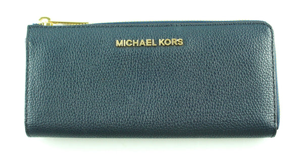 Michael Kors Navy Grained Leather Long Zip Wallet GH