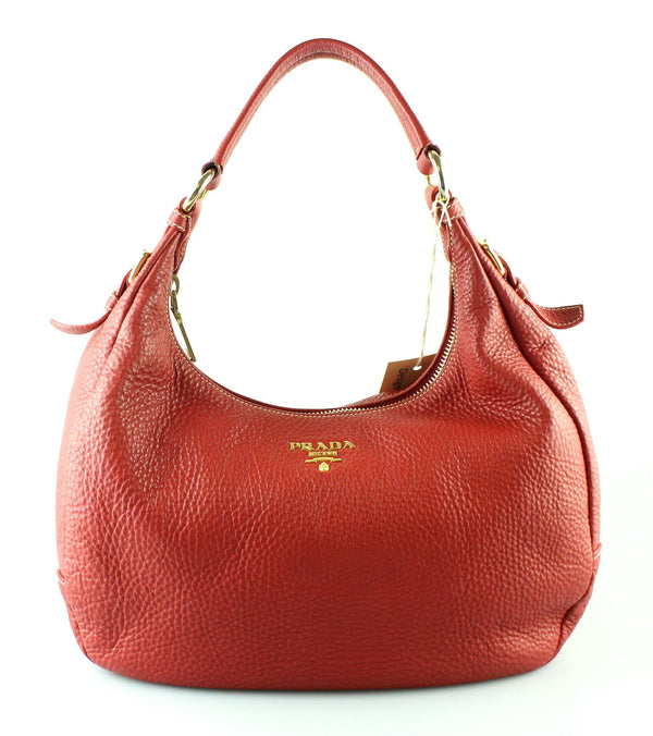 Prada Vitello Daino Rosso Curved Shoulder Bag