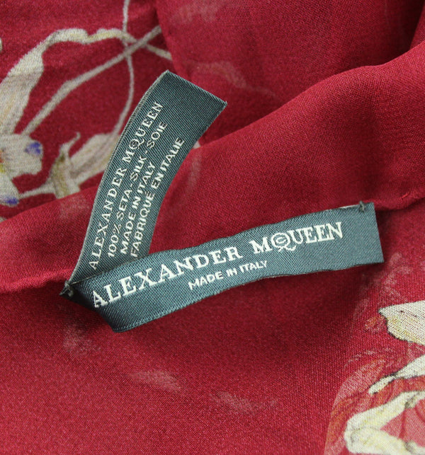 Alexander McQueen Silk Skull Scarf Red And Floral