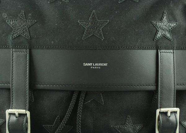 Saint Laurent Black Canvas Stars Satchel RRP €750