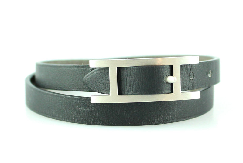 Hermes Behapi Double Tour Bracelet Black M Chamonix