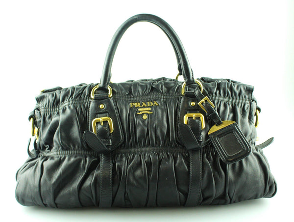Prada Black Nappa Gauffre Satchel GH (Missing Strap)
