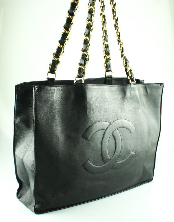 Chanel Vintage Black Lambskin XL Timeless Tote Chunky GH 1991/94