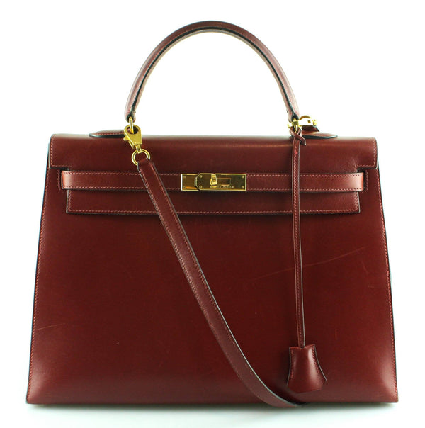 Hermes Kelly 35 Sellier Rouge H 1996 Gold