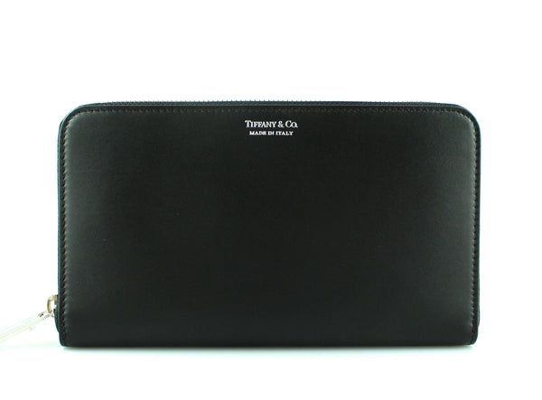 Tiffany & Co Large Black Leather Zip Around Travel Wallet SH (RRP €500)