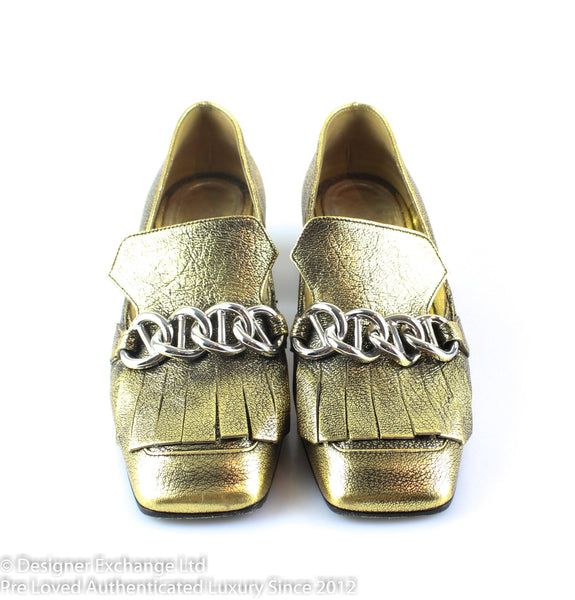 Prada Gold Fingered With Chain Loafers EUR 36 UK 3