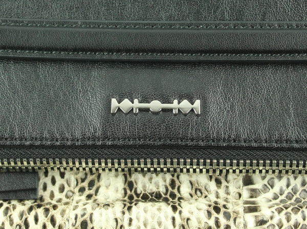 Alexander McQueen Black Leather Foldover Clutch