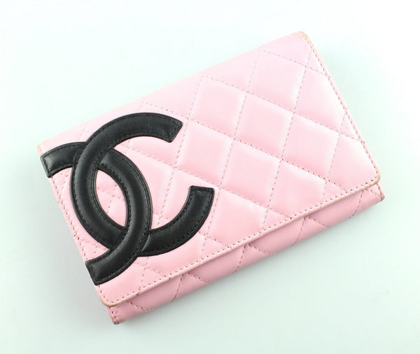Chanel Cambon Ligne Black On Pink Quilted Leather Flap wallet