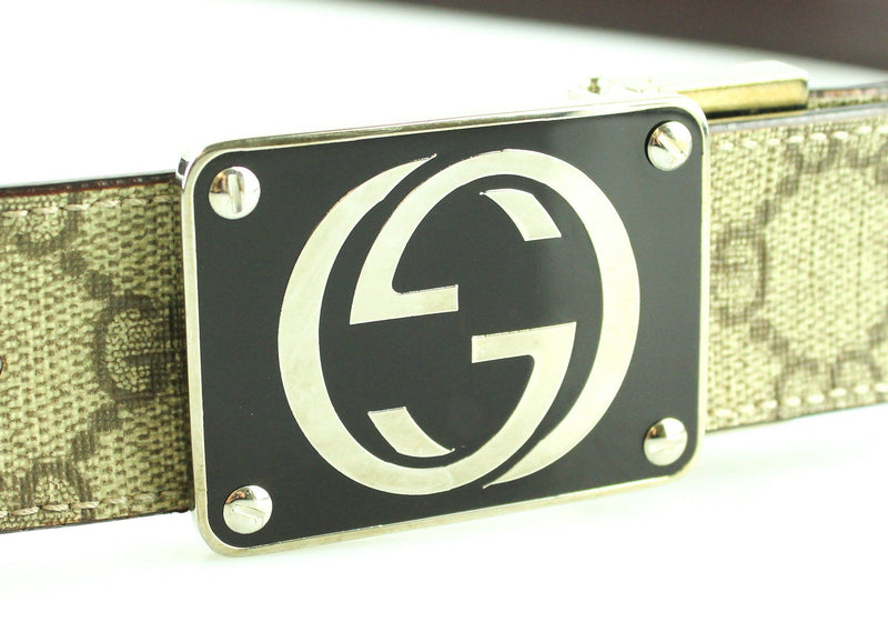 Gucci GG Supreme Belt Brown GG Plate Buckle 90/36
