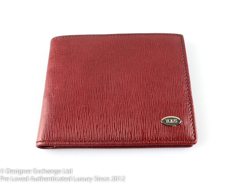 Tod's Red Leather Flap Wallet