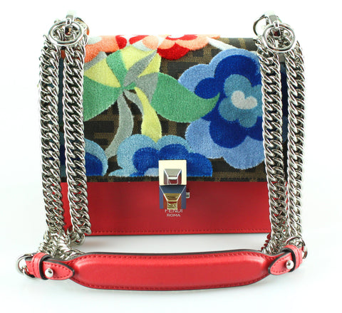 Fendi Kan I Small Flower-Appliqué Leather Cross-Body Bag