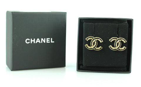 Chanel B14 Black Enamel And Gilt CC Stud Earrings Ex Display