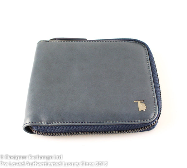 Tod's Blue Leather Zip Around wallet