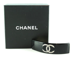 Chanel Black Diamante CC Hair Slide 2008