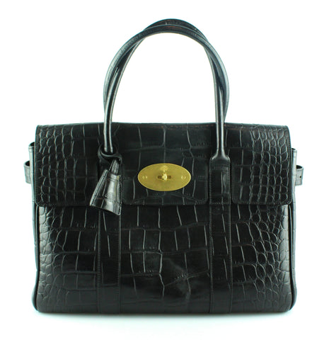 Mulberry Black Croc Embossed Bayswater Brass Hardware