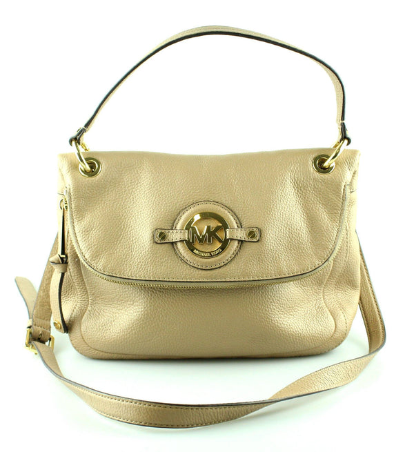 Michael Kors Nude Leather Zipped Flap Satchel