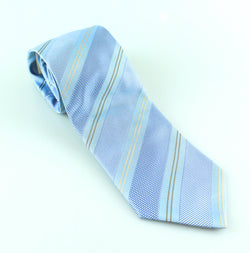 Lanvin Silk Blue and Gold Striped Tie