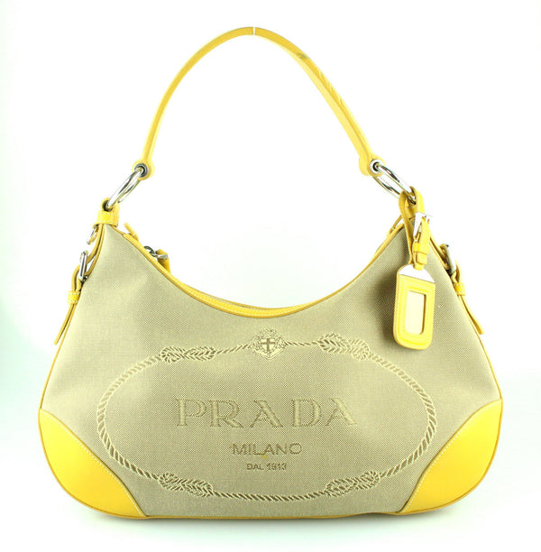 Prada Logo Shoulder Bag Yellow Leather Trim
