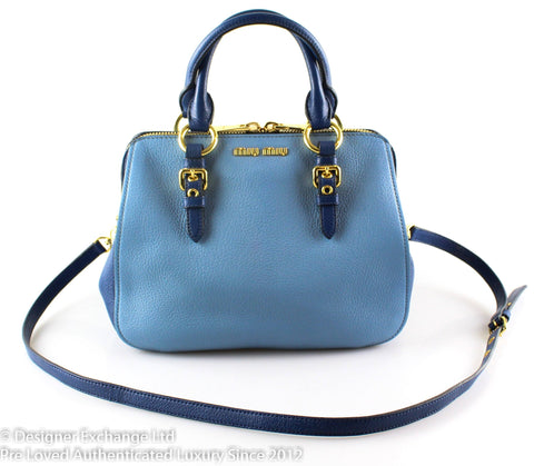 Miu Miu Madras Bicolour Cobalt/Sky Top Handle Bag